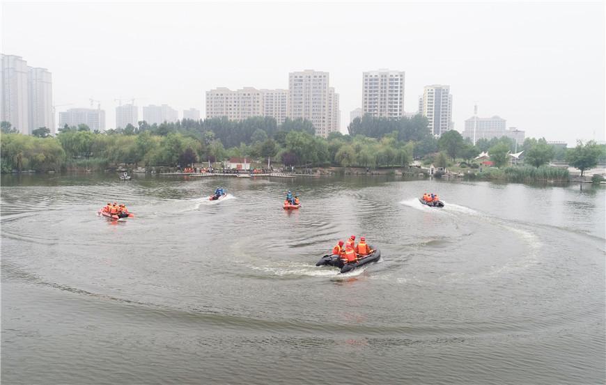 山东枣庄:抗洪抢险演练应对汛期安全